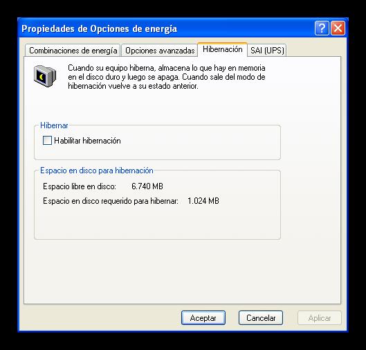 Windows XP activar hibernacion foto