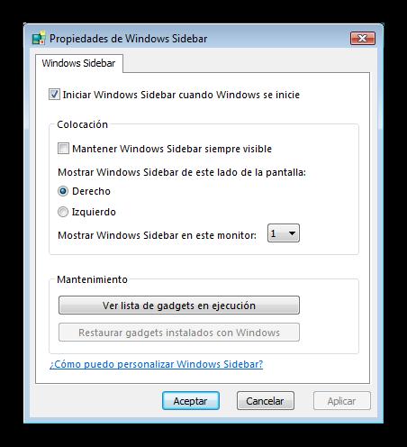 Windows Vista configurar sidebar foto 3