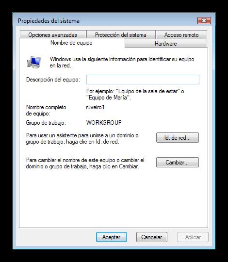 Windows Vista cambiar grupo trabajo foto