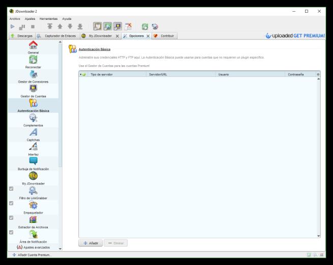 JDownloader - Autenticacion basica
