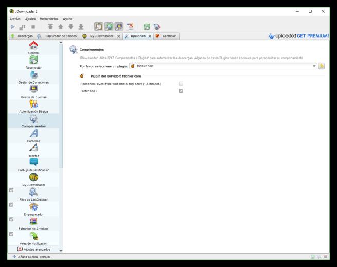 JDownloader - Configurar complementos