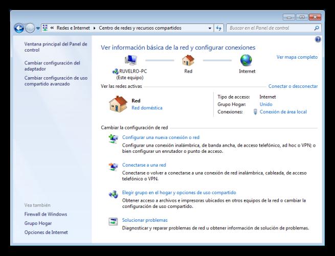 Centro de redes de Windows 7