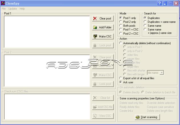 CloneSpy pantalla principal