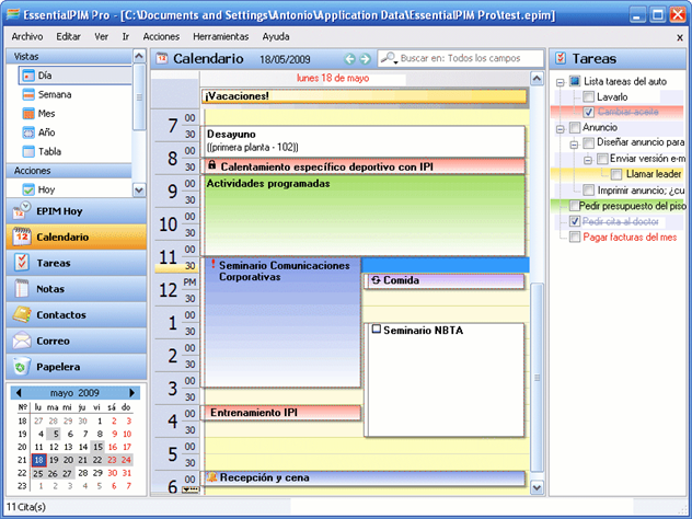 essentialpim calendario