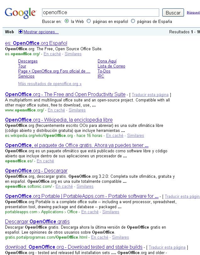 openoffice busqueda google