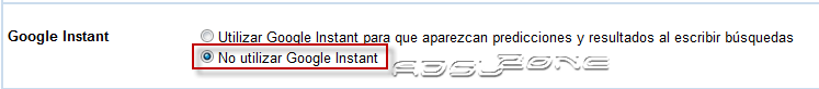 Desactivar google instant 2