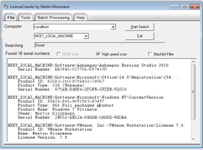LicenseCrawler 1.10.230: сохранение серийных номеров установленных приложен