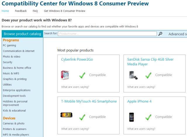 Centro compatibilidad Windows 8