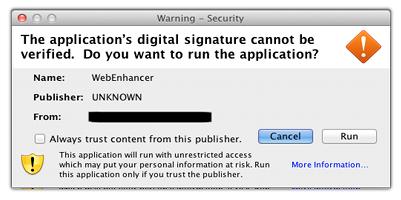 Malware Morcut para Mac OS aviso
