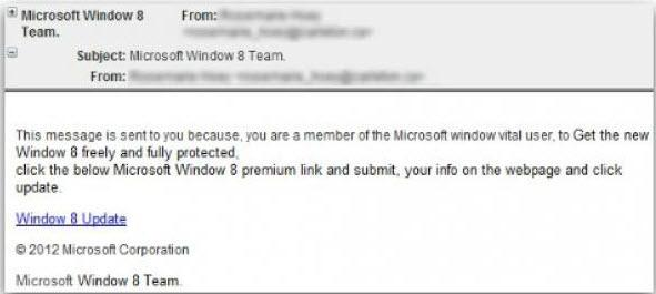 correo falsa actualizacion a windows 8