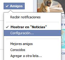 actualizaciones facebook configuración