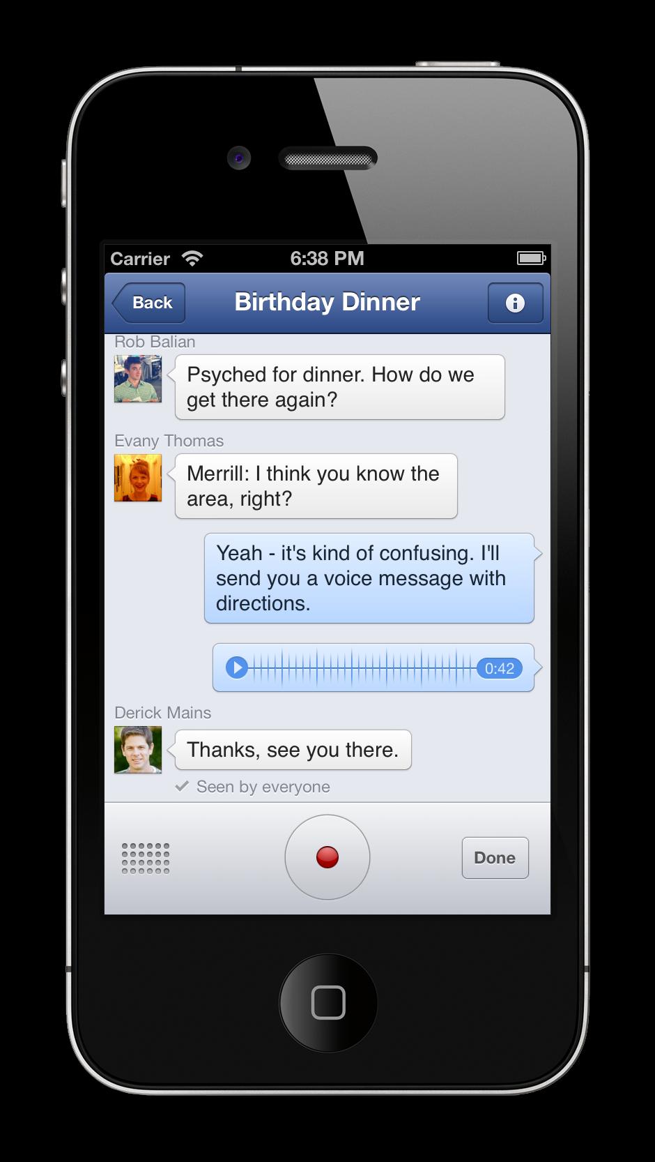 Facebook Messenger mensaje voz
