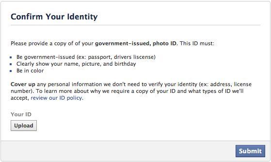 facebook solicita carnet de identificacion