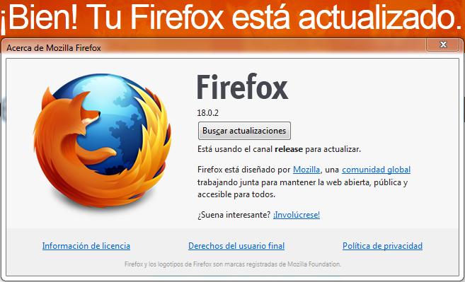 firefox 18.0.2 acerca de