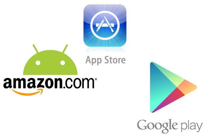 Google Play, Amazon y App Store