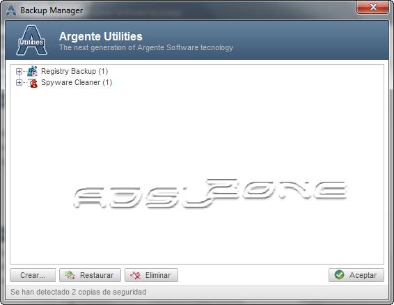 administrar copias de seguridad de argente utilities