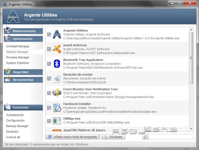 gestionar programas inicio windows con argente utilities