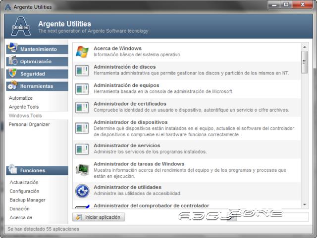 acceso a las herramientas del propio windows con argente utilities