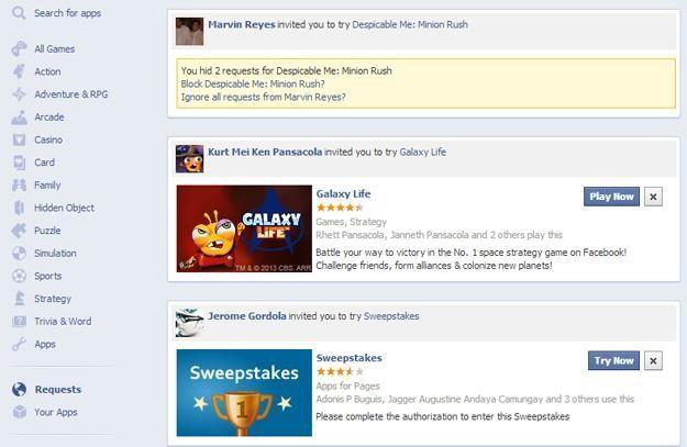Centro de apps en Facebook