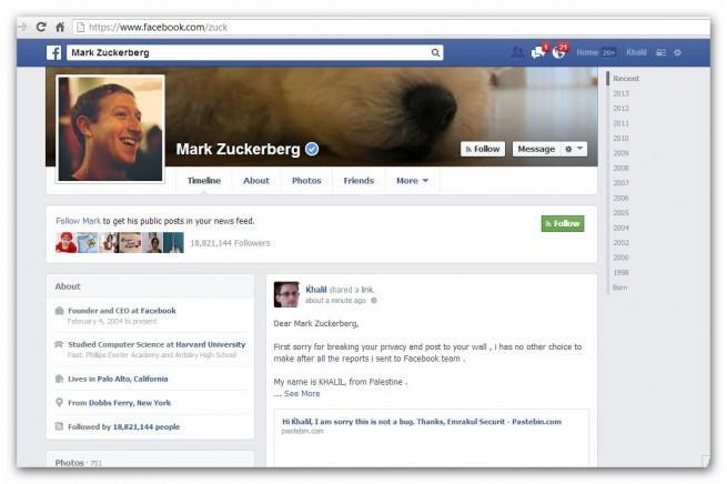 Post en el Muro de Mark Zuckerberg