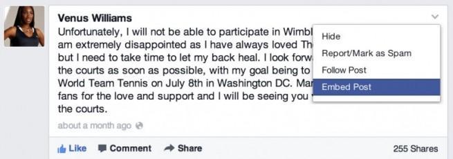Página de Facebook de Venus Williams