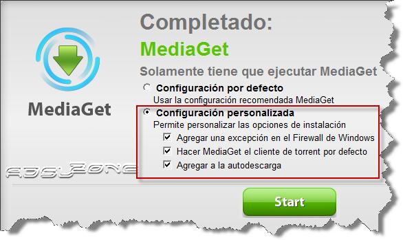 configuracion personalizada mediaget