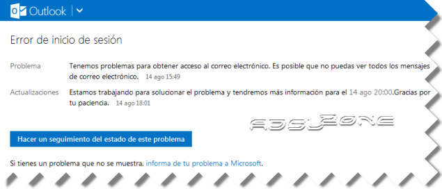 error acceso a outlook