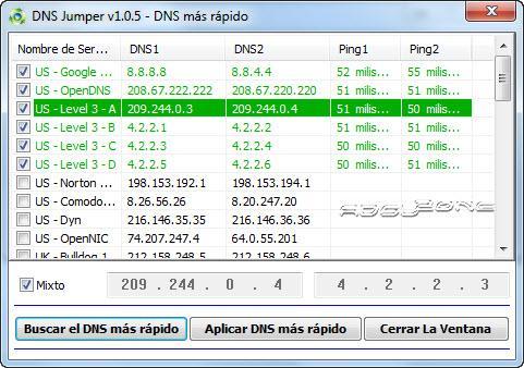 Establecer los mejores DNS para aumentar la velocidad de internet con DNS Jumper Establecer-mejor-dns-mixto-con-dns-jumper-3