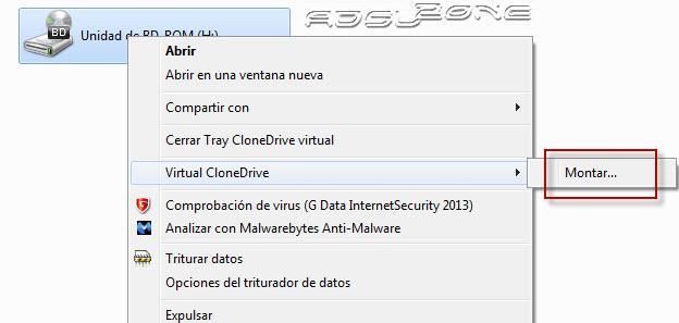 montar archivo de imagen con virtual Clone Drive