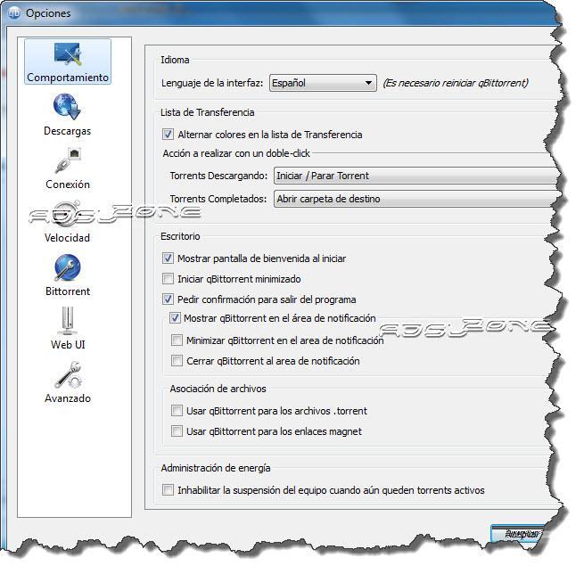 opciones configuración qbittorrent
