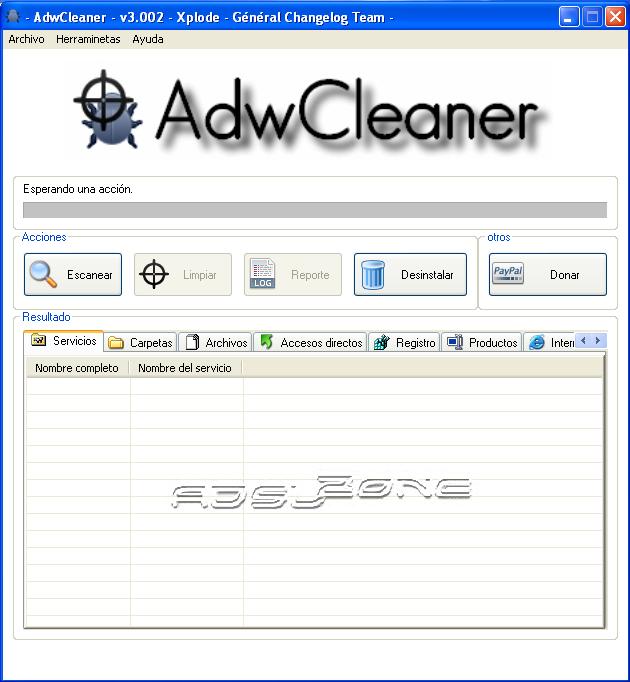 adwcleaner pantalla principal