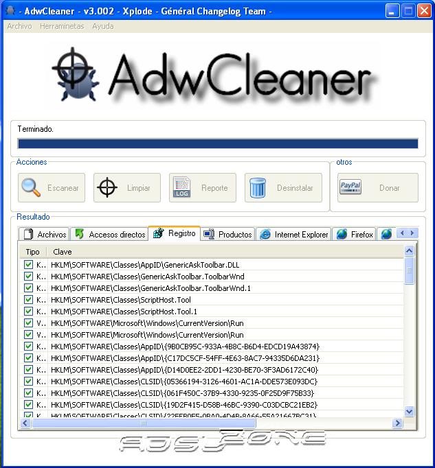 adwcleaner resultados encontrados