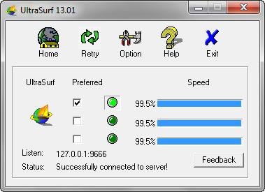 navegación segura con ultrasurf pantalla principal