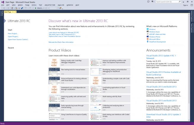 Visual Studio 2013 de Microsoft