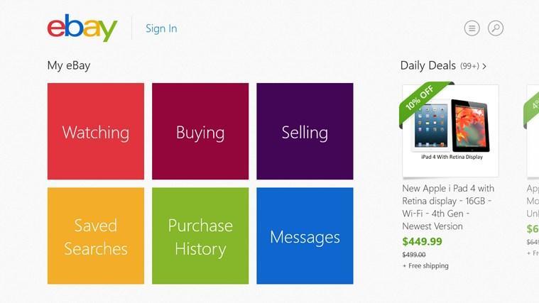 bug cr tico en la aplicaci n de ebay para windows 8. Black Bedroom Furniture Sets. Home Design Ideas