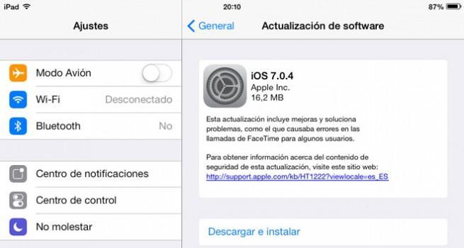 Actualización 7.0.4 de iOS