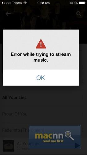 Error de Google Play Music
