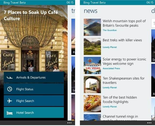 Beta Bing Travel para Windows Phone