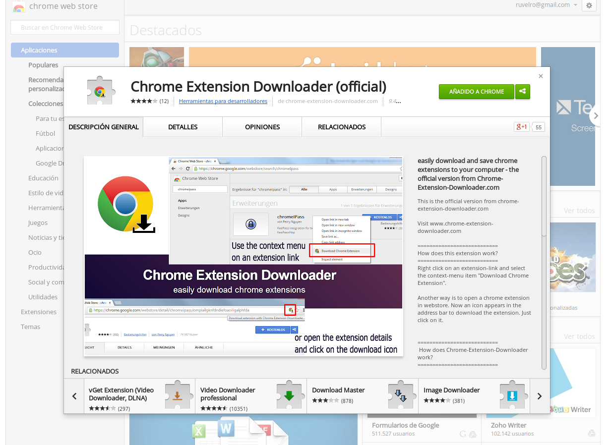 Descarga extensiones de Google Chrome con Chrome Extension Downloader