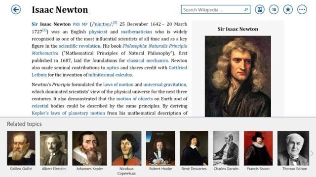 App de Wikipedia y Bing