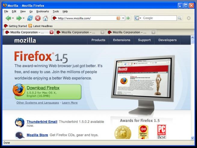 Firefox 1.5 en Windows XP
