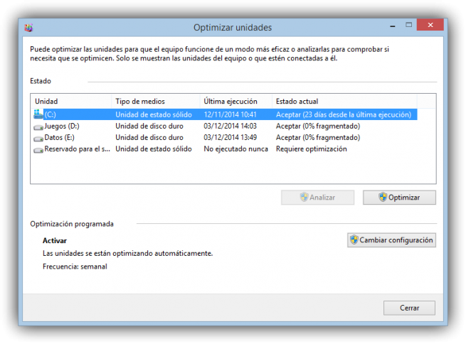 Desfragmentar ssd Windows 8
