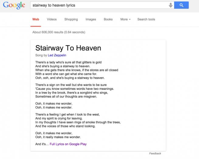 La letra de las canciones en Google