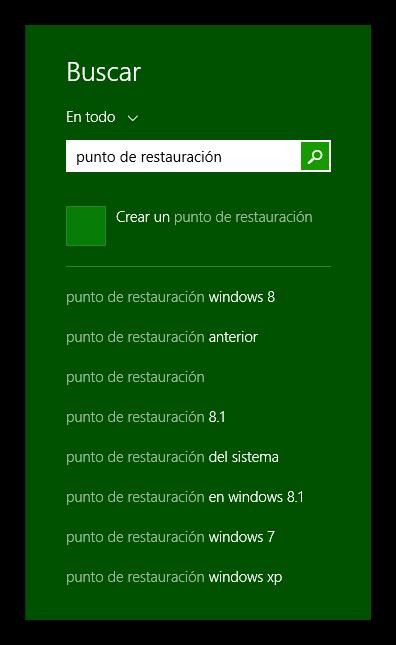 Buscar configuración de los puntos de restauración de Windows 8.1