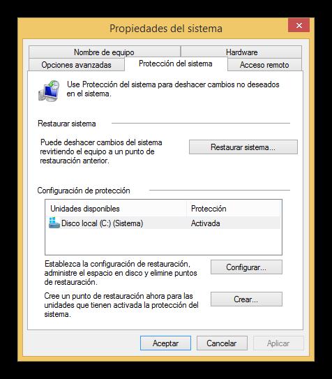 Configurar los puntos de restauración de Windows 8.1