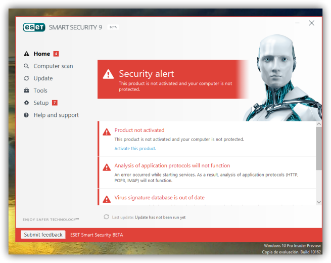 Eset 9 antivirus Windows 10 errores foto 4