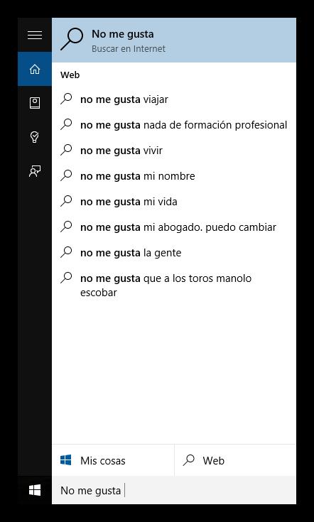 Ejemplo de búsqueda en Cortana con los resultados de Bing