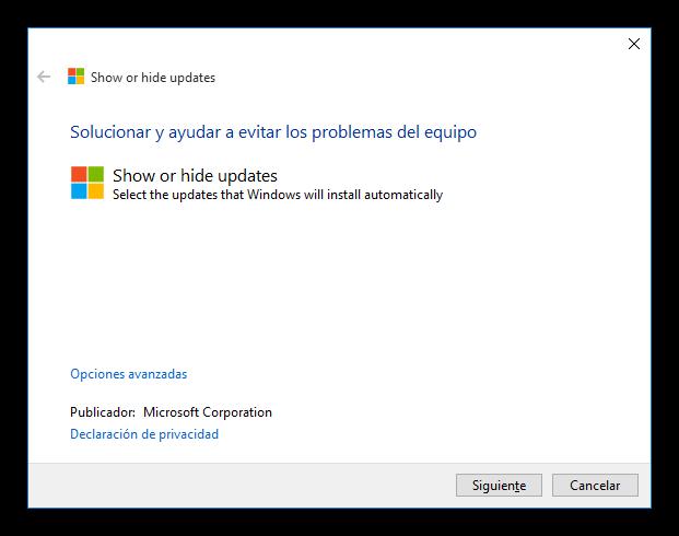 Herramienta para mostrar u ocultar actualizaciones de Windows 10