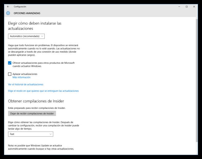 Windows 10 y la configuración avanzada de Windows Update
