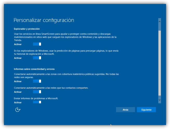 Configuración inicial windows 10